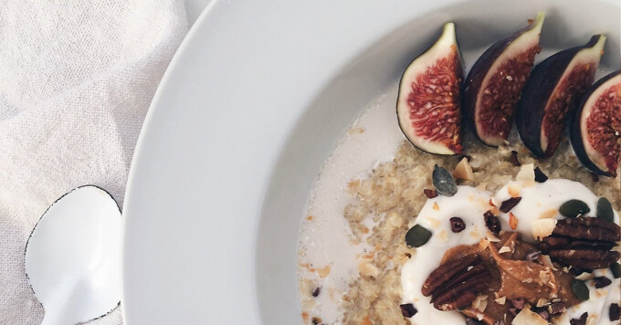Coconut Whole Grain Porridge with berries almonds and figs