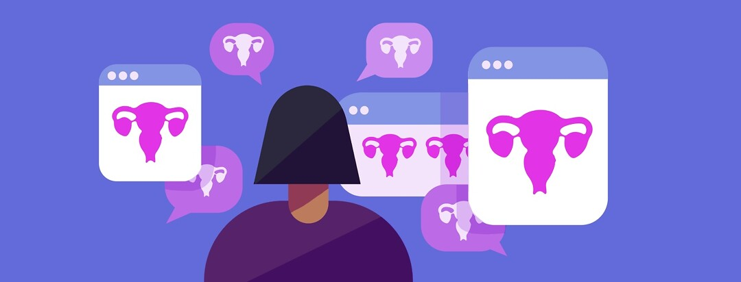 A woman looks at many chat and internet windows all of which have uteruses