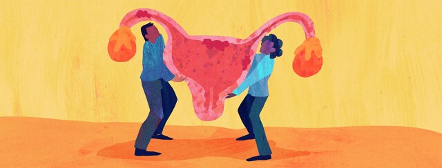A couple shares the weight of carrying a uterus between them