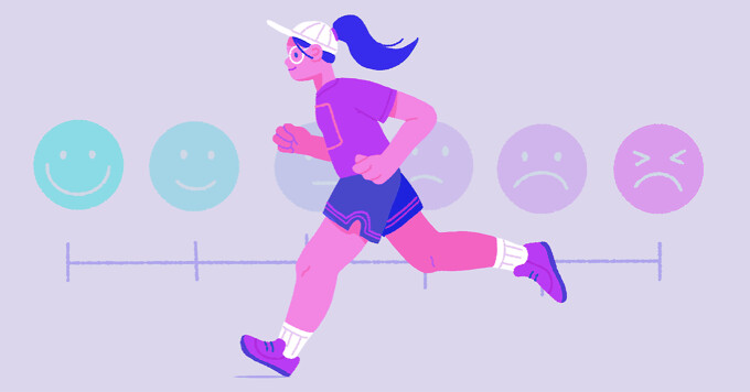 A woman jogging in front of a pain scale