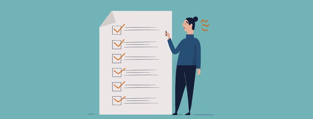 A worried person stands by a checklist with 6 items marked