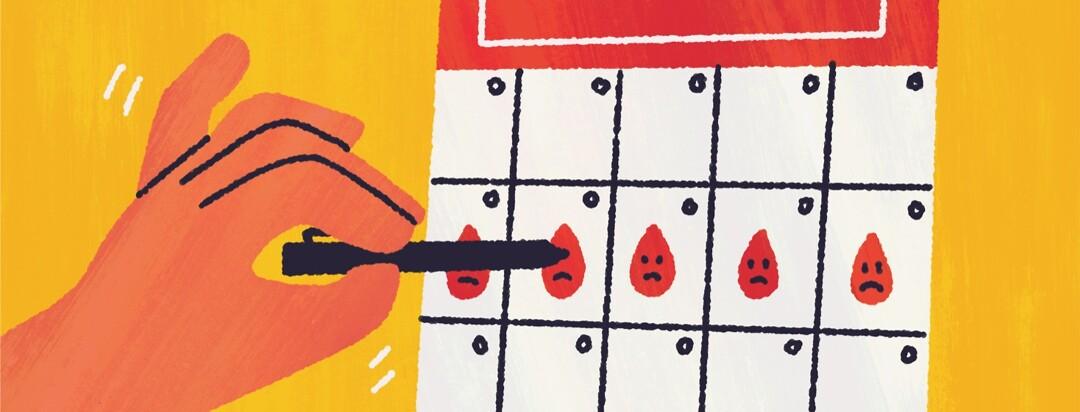 A shaking hand draws blood drops on a calendar