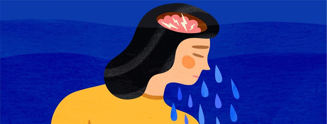 A crying woman with lighting bolts in her brain