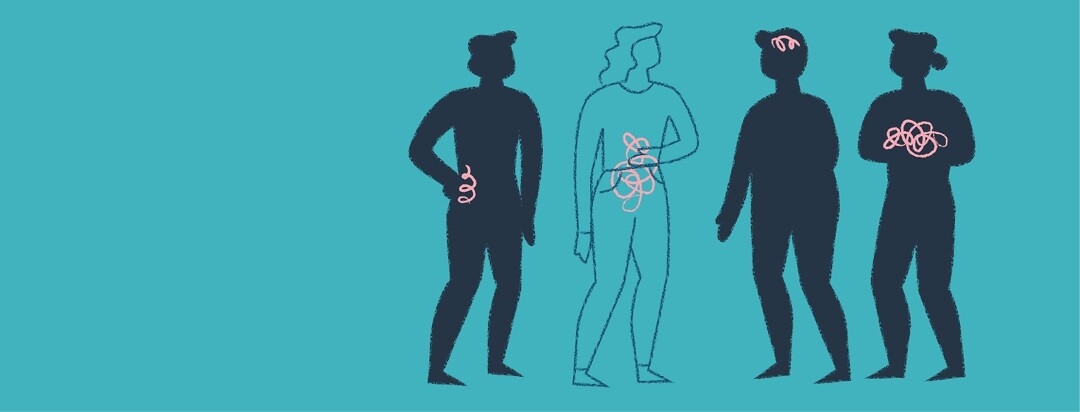Four people talking together who all show pain symptoms in different areas of the body including abdomen, back, head, and chest.