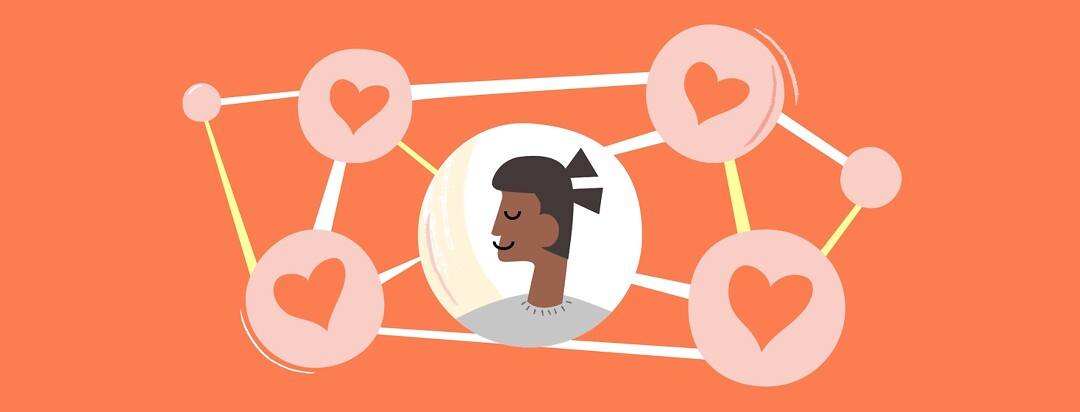 A woman surrounded by connected heart-shaped bubbles
