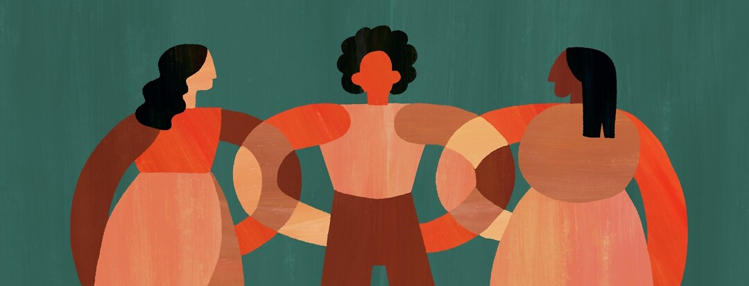Three women of color linking arms
