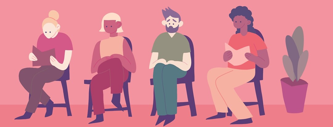 A group of cis women in a waiting room with a trans man looking uncomfortable
